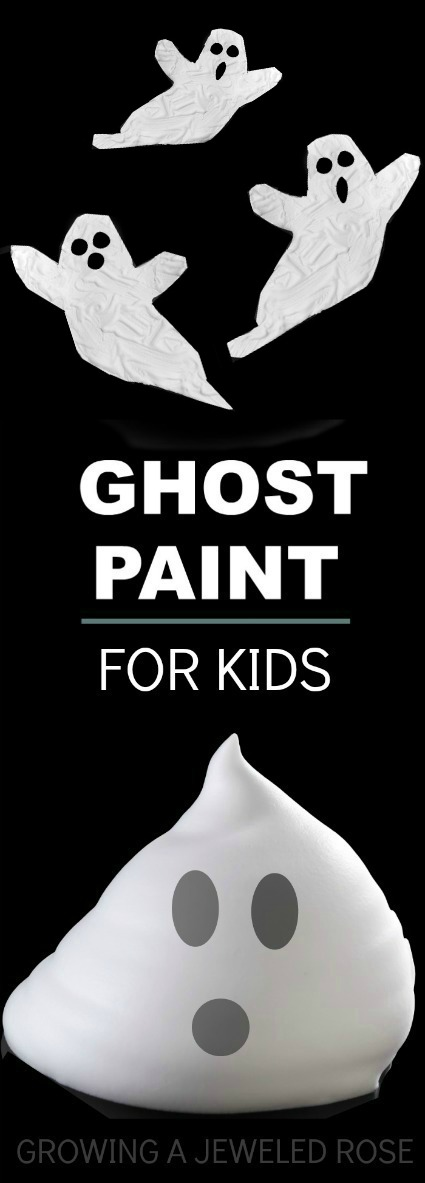 "DIY GHOST PAINT: icy cold paint for kids that dries puffy & raised!  ""SO COOL""  #Halloweencraftsforkids #craftsforkids #playrecipes"