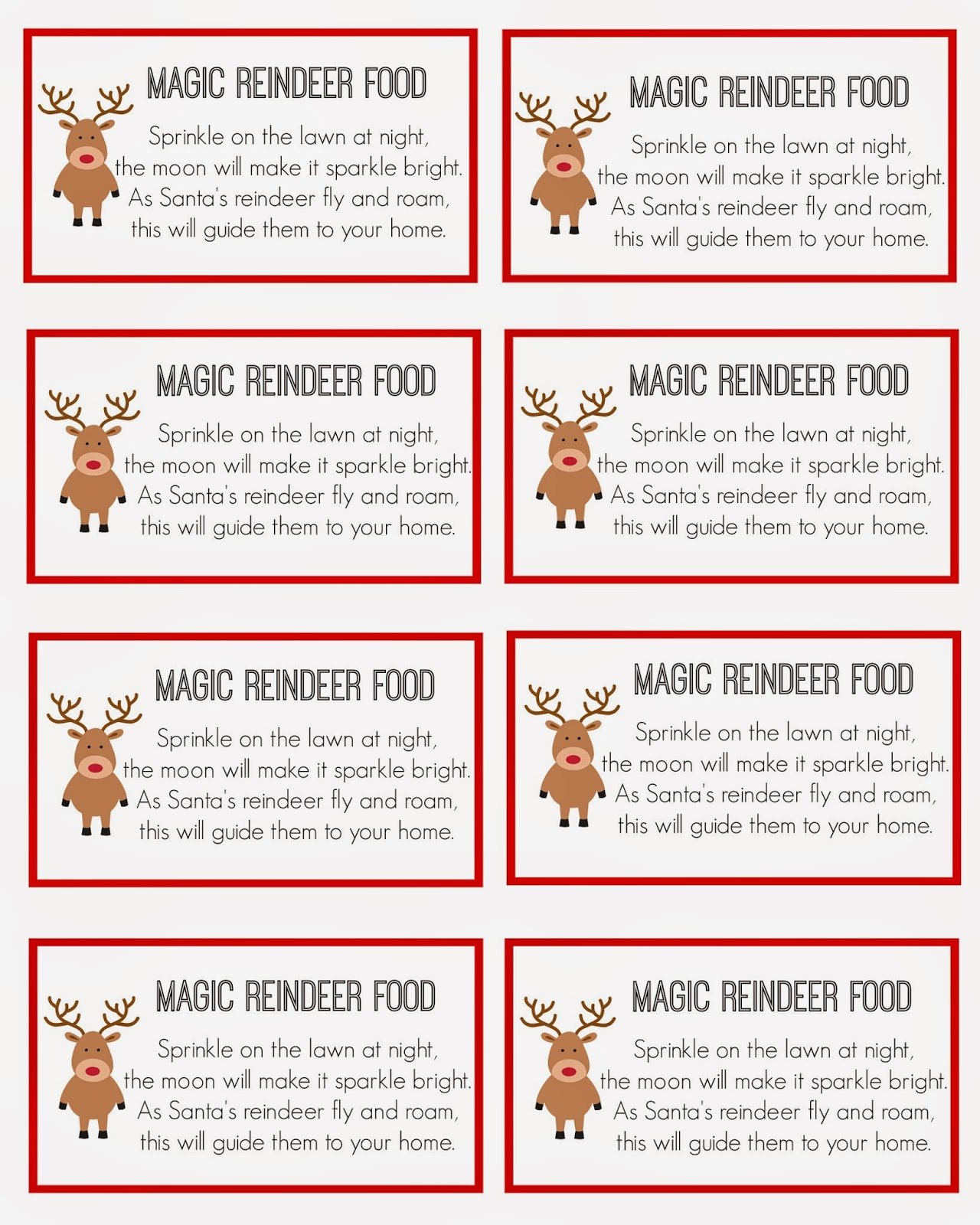 To print this 8X10 sheet of magic reindeer food labels , right-click ...