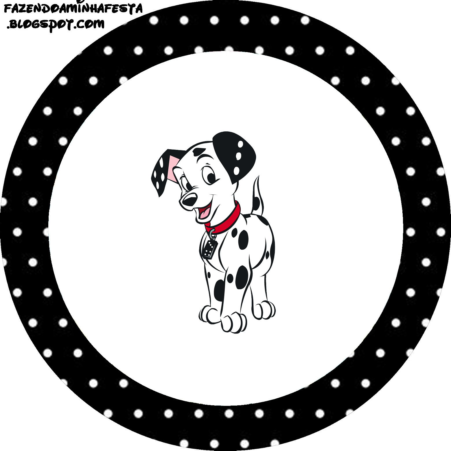 photo about Dalmation Printable identified as 101 Dalmatians inside Black and Blue: Free of charge Printable Cupcake