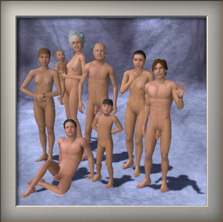 Family picture of nude sims