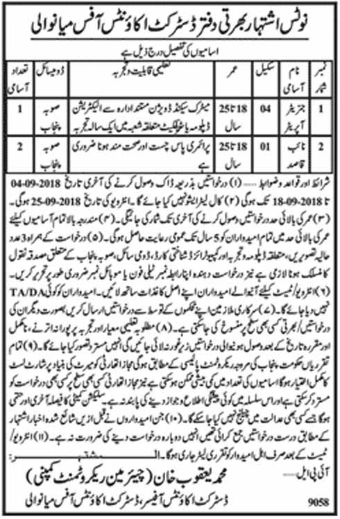 Govt jobs in Mianwali District Accounts Officer