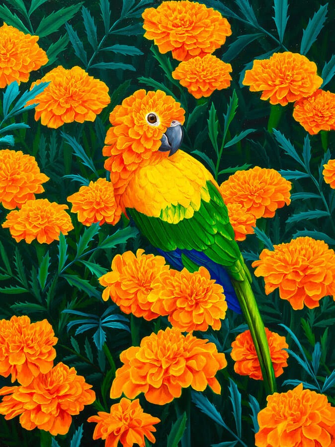 03-Marigold-Parrot-Jon-Ching-Animal-Oil-Paintings-www-designstack-co