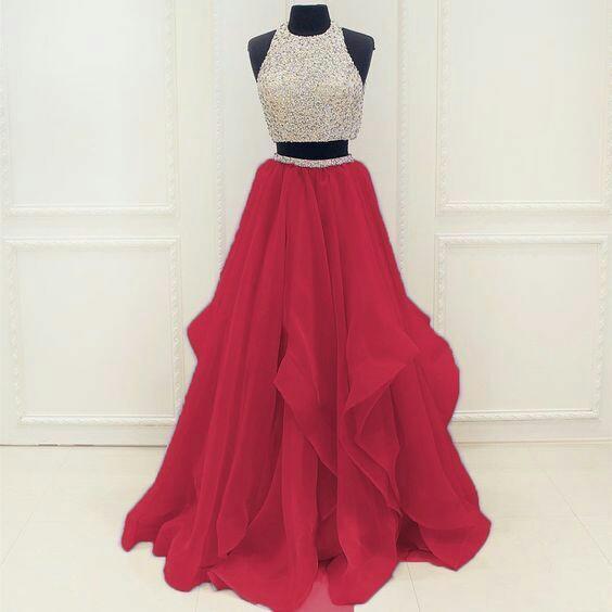 Beautiful two pieces wedding prom dress
