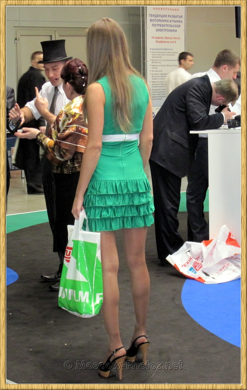 Cool Moscow Model In Green Dress