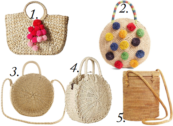 Straw Bags on budget, Pom Pom Bag for less, Best straw bags for summer, designer straw bags lookalike, straw circle bag, straw picnic bags