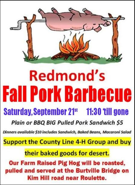 9-21 Redmond's Fall Pork BBQ, Burtville Bridge