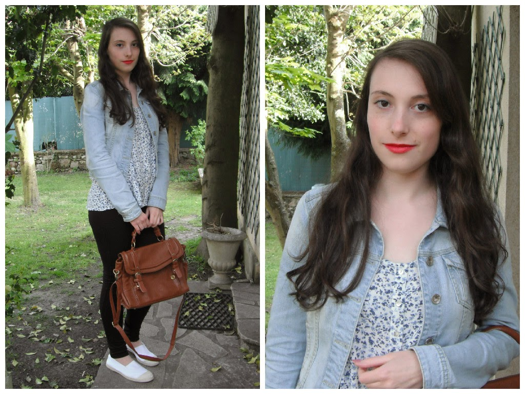 Lookbook printemps 2015 tenue 2 : haut fleuri et veste en jeans