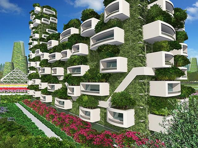 リアルイラスト、3DCG、俯瞰、スマートシティ、近未来都市、SF、緑に覆われたアパート