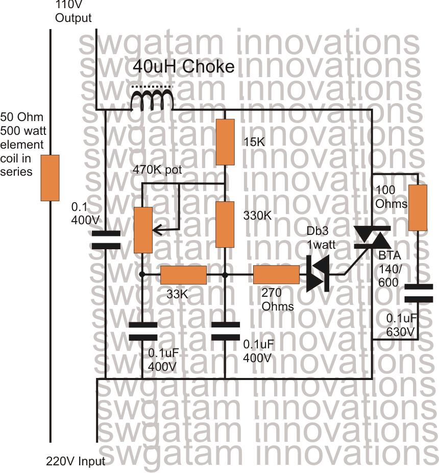 220v to 110v converter circuit diagram
