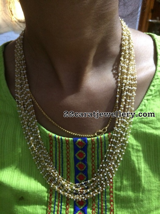 92.5 Silver Pearls Long Chain