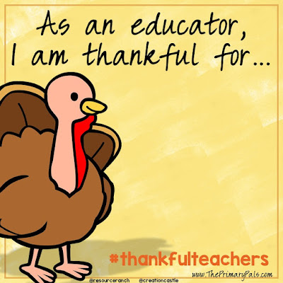Throughout the month of November, you can grab this image and add what you are thankful for to share on social media. Make sure you use the hashtag #thankfulteachers and tag @resourceranch or @creationcastle.