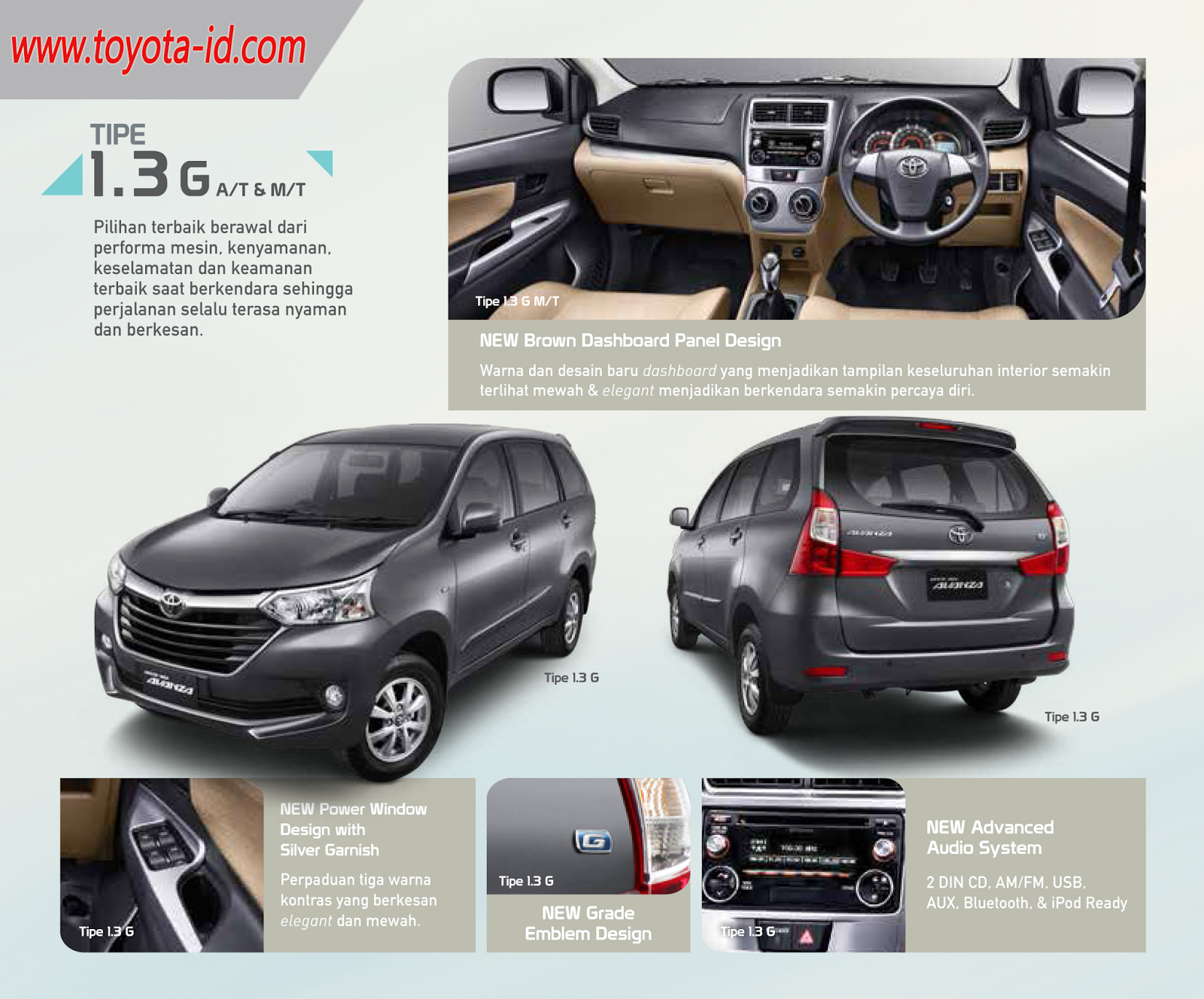 Warna Grand New Avanza Dark Brown Interior Veloz 1.5 Spesifikasi Toyota 2015 Astra Indonesia Tipe 1 5 G A T Dan M