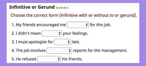 Infinitive or gerund online exercises LEVEL 4