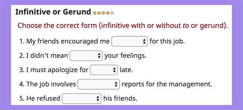 Infinitive or gerund online exercises LEVEL 4