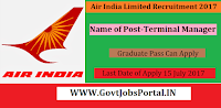 Air India Limited Recruitment 2017– Terminal Manager