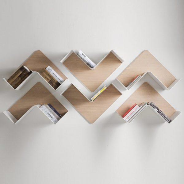 настенные полки для книг в скандинавском стиле