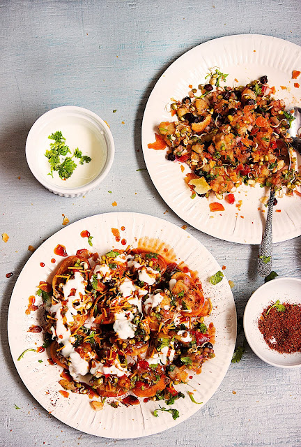 how to make sprouts papri chaat / papdi chaat recipe and preparation