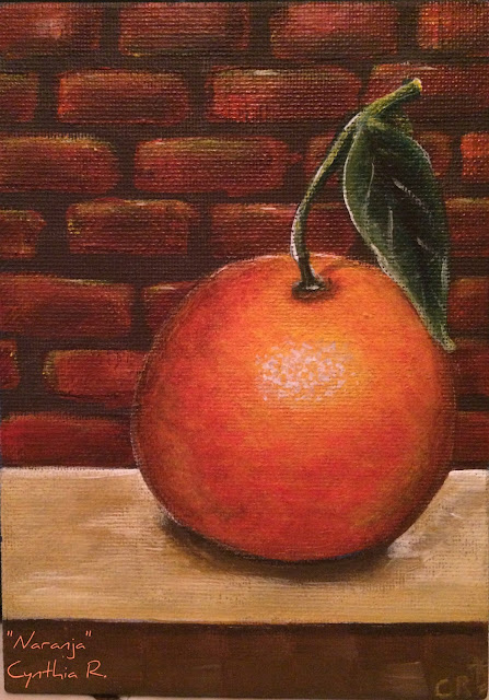 orange on the table, naranja en la mesa, orange, naranja, pintura acrílica en canvas, acrylic painting on canvas