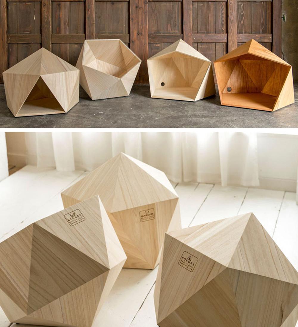 cuccia in legno geometrica cane design giappone design