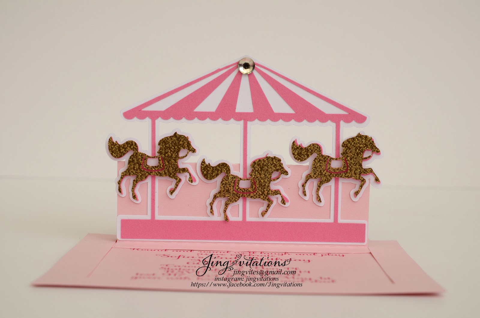 Birthday and Baby Shower Invitations Handmade Pop Up Carousel – Carousel Party Invitations