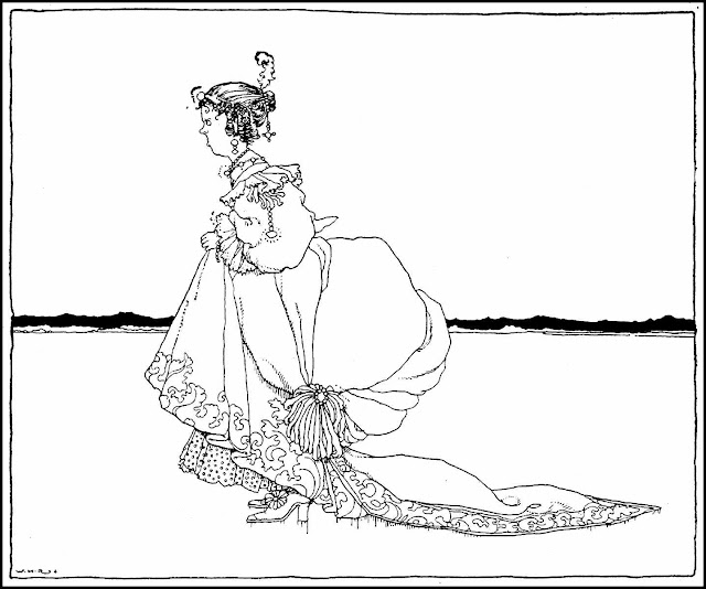 W. Heath Robinson illustration of angry woman at beach