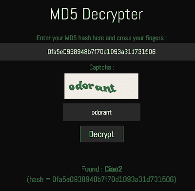 Come decriptare una password MD5