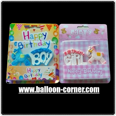 Lilin Ultah Motif HAPPY BIRTHDAY Boy Girl Kuda