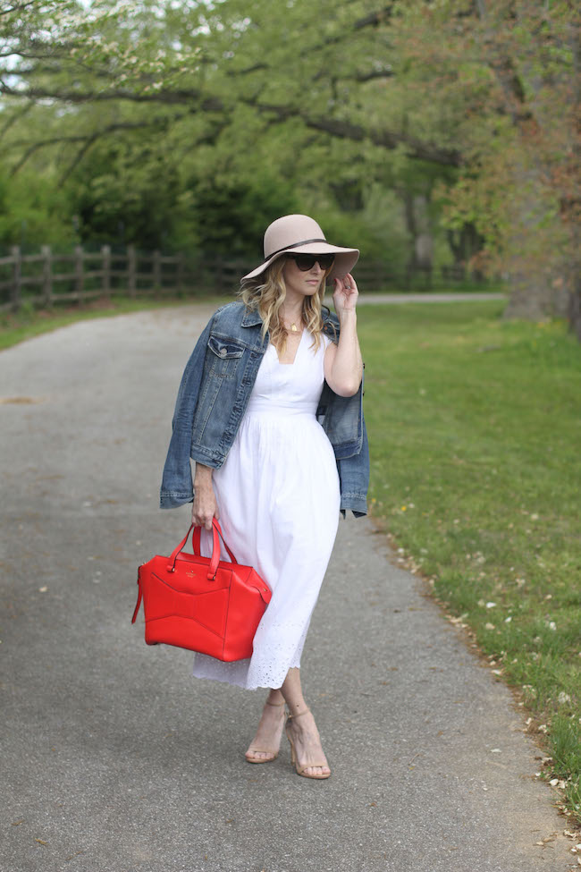 floppy hat, white dress, kate spade red tote