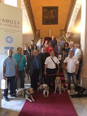 Ο Νίκος Βούτσης με εκπρόσωπους ελληνικών σωματείων τυφλών