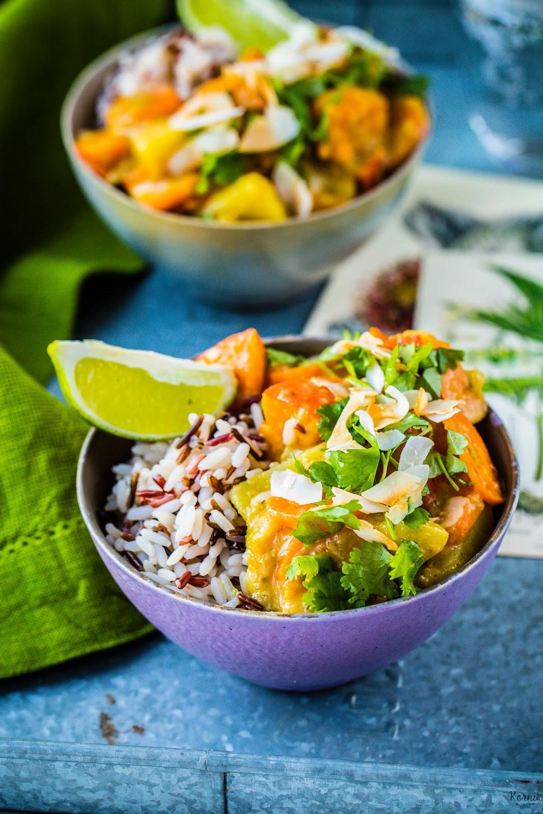 Zielone curry z dynią i ziemniakami