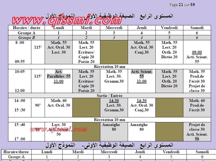 نماذج استعمالات الزمن ابتدائي