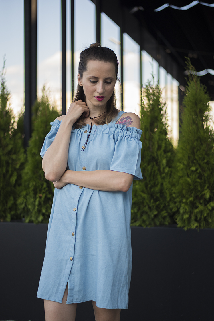 Blue Shirred Cold Shoulder Buttoned Denim Dress