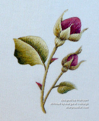 Burgundy Rosebuds (by Trish Burr): Completed thread painted rosebuds