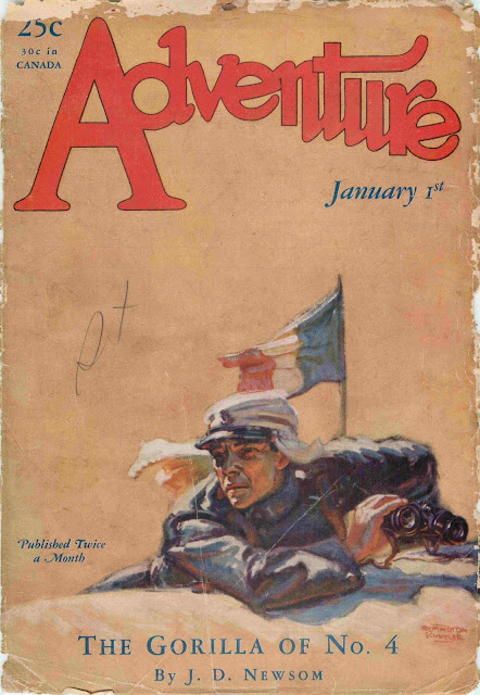 Adventure, January 1, 1928 - Cover illustration by Remington Schuyler