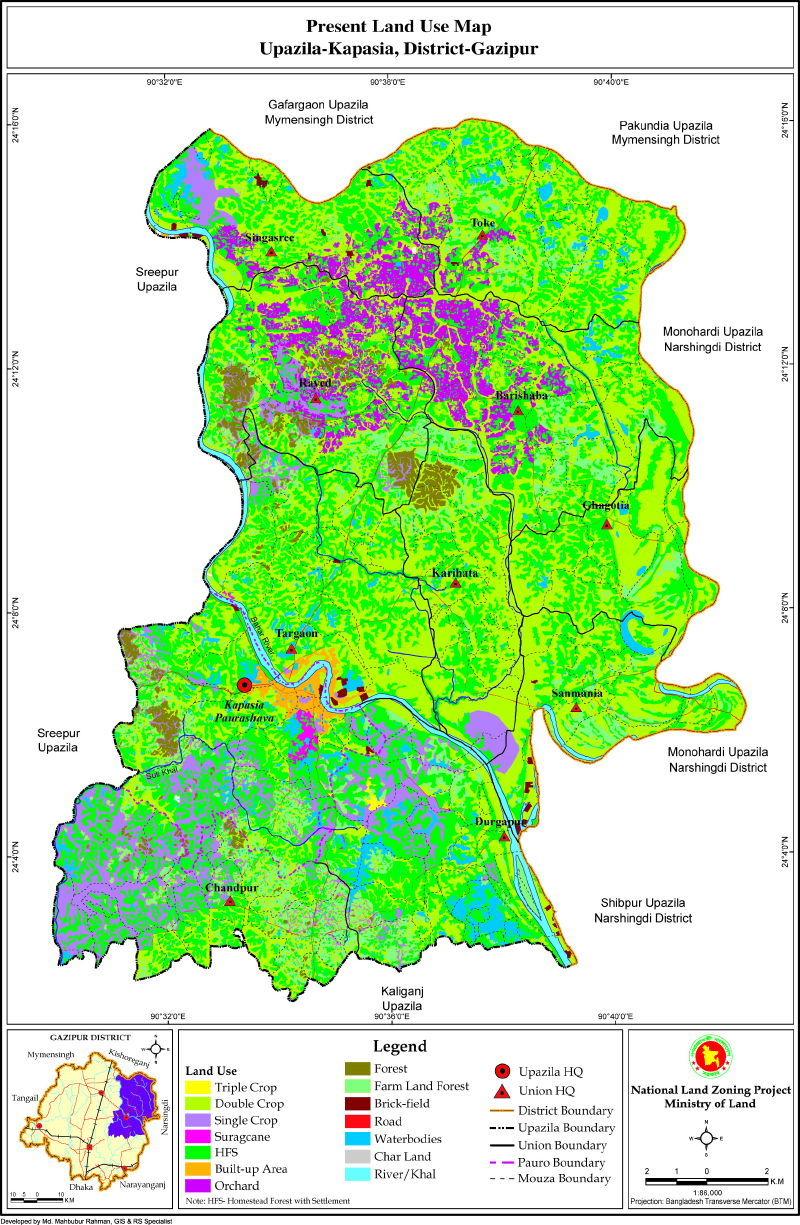Kapasia Upazila Mouza Map Gazipur District Bangladesh