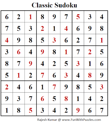 Answer of Classic Sudoku Puzzles (Fun With Sudoku #288)