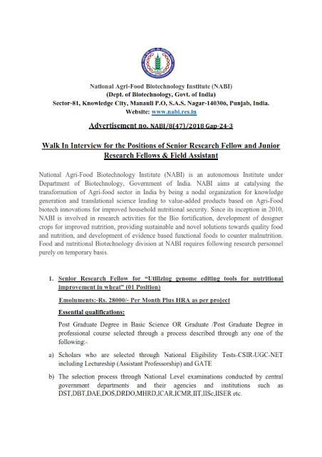 Senior & Junior Research Fellows and Field Assistant posts in NABI, Punjab