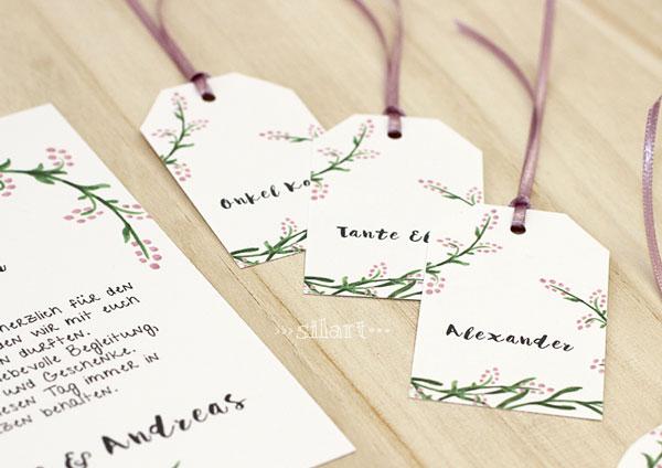 Hochzeitspapeterie - Wedding Stationery, Namenschilder, Anhänger