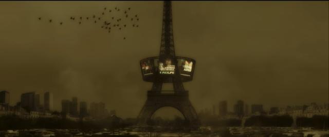 Paris enveloppé d'un brouillard jaune dans Arès, de Jean-Patrick Benes