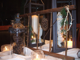 Lantern and ladder tablescape