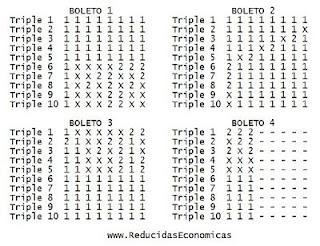 Combinacion de Quiniela Reducida de 10 Triples