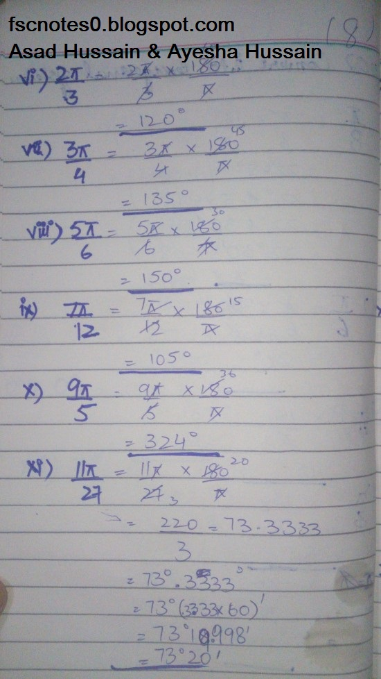 FSc ICS FA Notes Math Part 1 Chapter 9 Fundamentals of Trigonometry Exercise 9.1 Question 2 - 3 by Asad Hussain & Ayesha Hussain 1