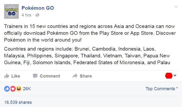 Pokemon Go Resmi Masuk dan Bisa Didownload di Indonesia