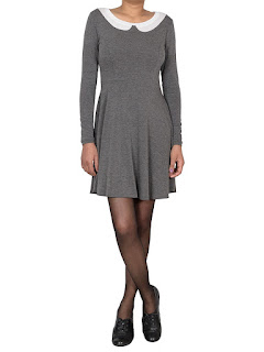 Robe patineuse col claudine  Manches longues pas cher