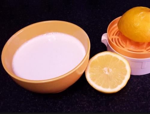 masque du lait et du jus de citron
