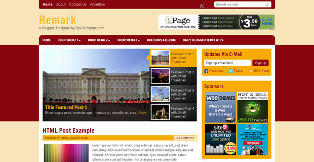 FREE Remark Blogger Template