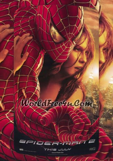Poster Of Free Download Spiderman 2 2004 300MB Full Movie Hindi Dubbed 720P Bluray HD HEVC Small Size Pc Movie Only At worldfree4u.com