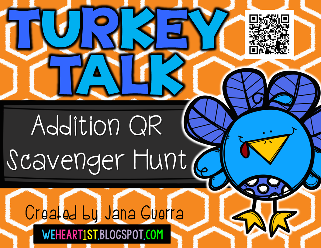 http://www.teacherspayteachers.com/Product/Turkey-Talk-Addition-QR-Scavenger-Hunt-1545693
