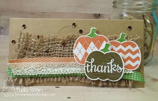 Pumpkin Card with Burlap & Lace by Naki Rager | InkyPaws Challenge | Pick-a-Pumpkin stamp set by Newton's Nook Designs #newtonsnook