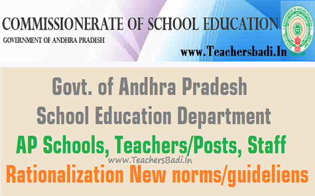 AP Schools,Posts,Staff Rationalization New Norms and Guidelines-Rc.4102